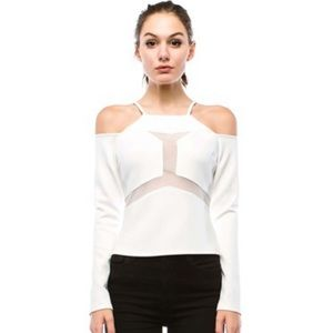 White Off Shoulder Stretchy Blouse Top